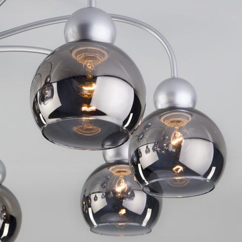 Потолочная люстра со стеклянными плафонами 30148/8 серебро