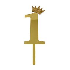 Y Топпер цифра 1 Корона GOLD 18см, 1шт.