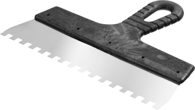 Шпатель нержавеющий СИБИН зубчатый, с пластмассовой ручкой, зуб 8х8 мм, 250 мм