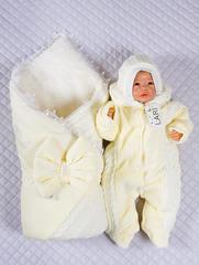 Зимний набор на выписку новорожденных из роддома Дуэт (кремовый)
