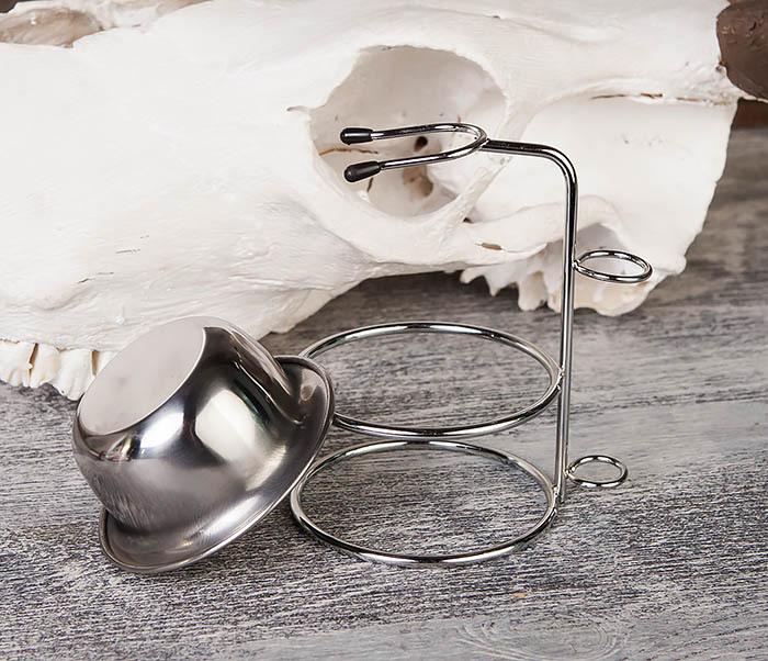 RAZ328 Стальная чаша для бритья в подставкой для бритвы и помазка фото 04