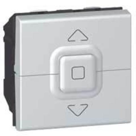 Кнопочный выключатель для управления приводами 2 модуля. Цвет Алюминий. Legrand Mosaic (Легранд Мозаик). 079225