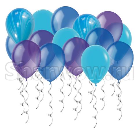 Воздушные шары под потолок Голубое ассорти с фиолетовым