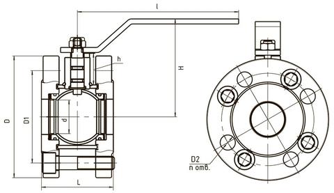 Схема компактный 11с67п LD КШ.Р.Ф.025.016.П/П.02 Ду25 полный проход