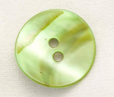 Пуговица из натурального перламутра, зелёная со светло-коричневым рисунком