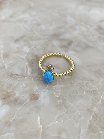 Кольцо Эдем из позолоченного серебра с голубым опалом