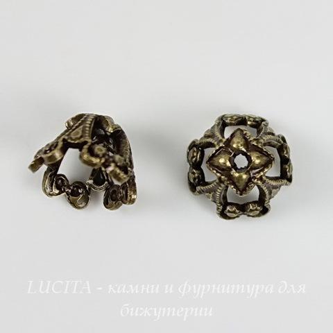 Винтажный декоративный элемент - шапочка 8х6 мм (оксид латуни) ()