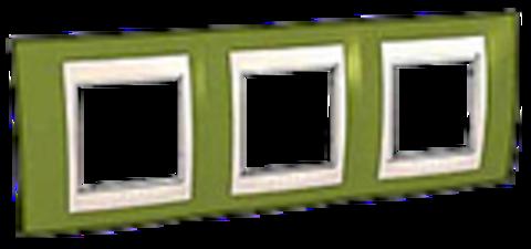 Рамка на 3 поста. Цвет Фисташковый/Белый. Schneider electric Unica Хамелеон. MGU6.006.866
