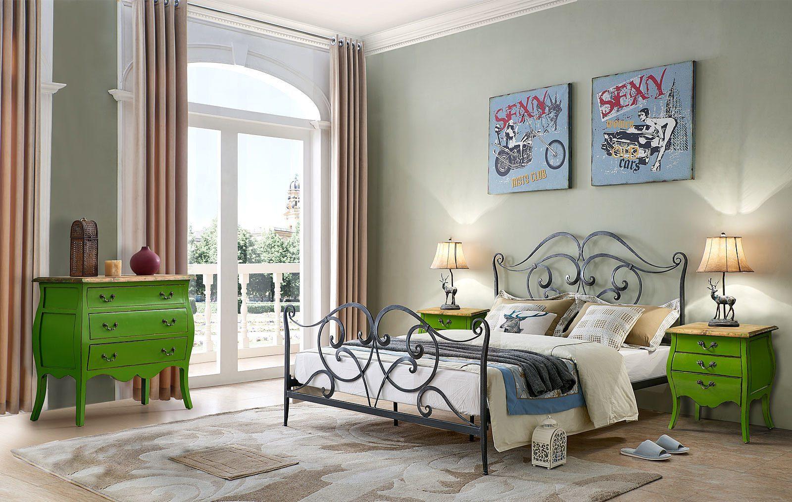 Кровать ESF TDF06009 черная с серым, Тумбочка прикроватная ESF FL 4015 зеленая, Комод горизонтальный FL-4022 зеленый