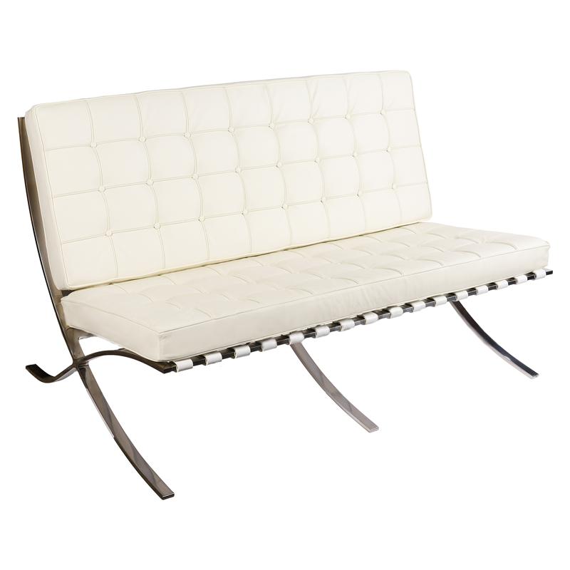 Диван Barcelona Style Loveseat Sofa кремовая кожа - вид 1