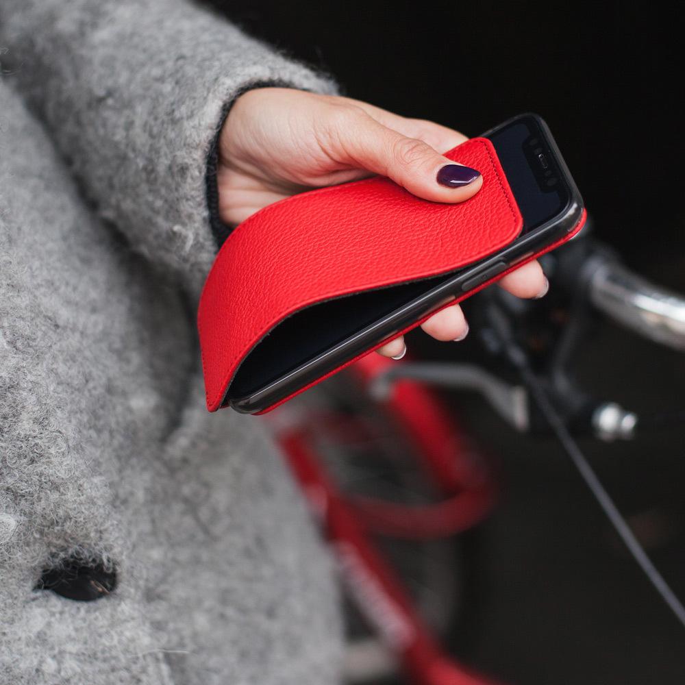 Чехол для iPhone XS Max из натуральной кожи теленка, красного цвета