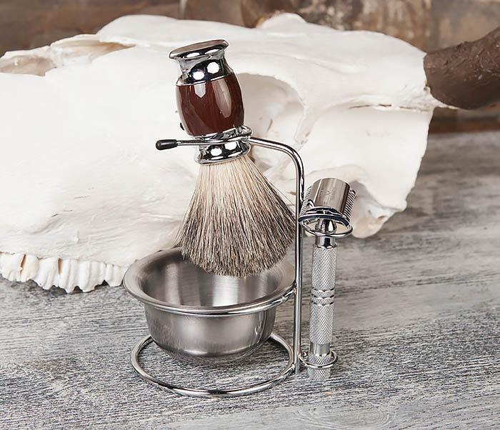 RAZ328 Стальная чаша для бритья в подставкой для бритвы и помазка фото 05