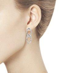 94024098 - Серьги из серебра в форме двух сплетенных звеньев
