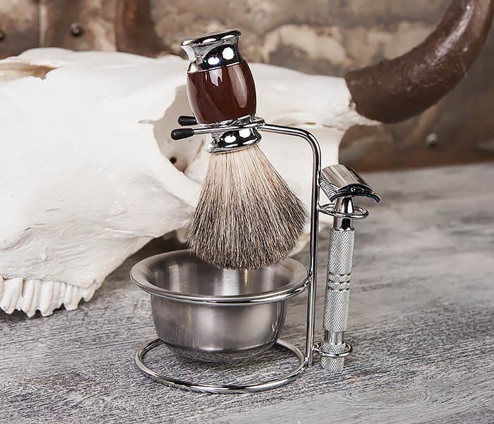 RAZ328 Стальная чаша для бритья в подставкой для бритвы и помазка фото 06