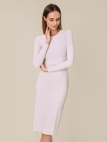Женское платье светло-серого цвета из шерсти - фото 3