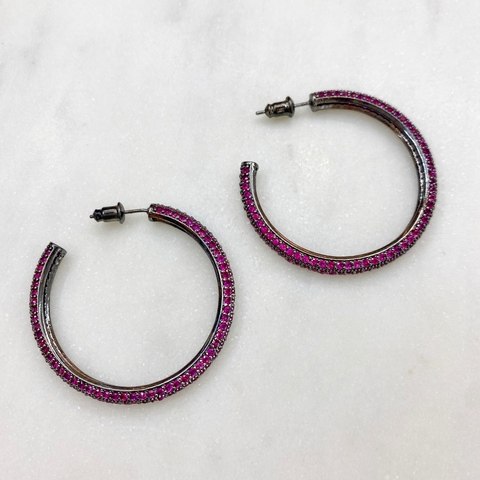 Серьги-конго с цирконами, рубиновый (черный) ш925