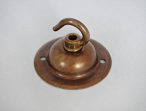 Чашка потолочная латунная, с крюком (Состаренная Латунь)