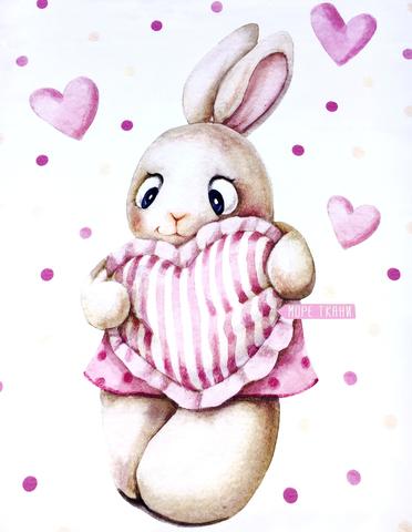 Панель(купон) зайка-девочка с сердцем -75*100 см