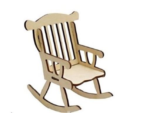 Кукольное кресло-качалка из фанеры 4мм (набор 4 детали) 11,5x8x13,2 см