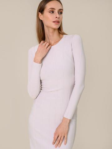 Женское платье светло-серого цвета из шерсти - фото 5