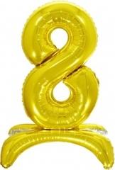 К Шар цифра (32''/81 см) , 8 на подставке, Золото, 1 шт. в упак.