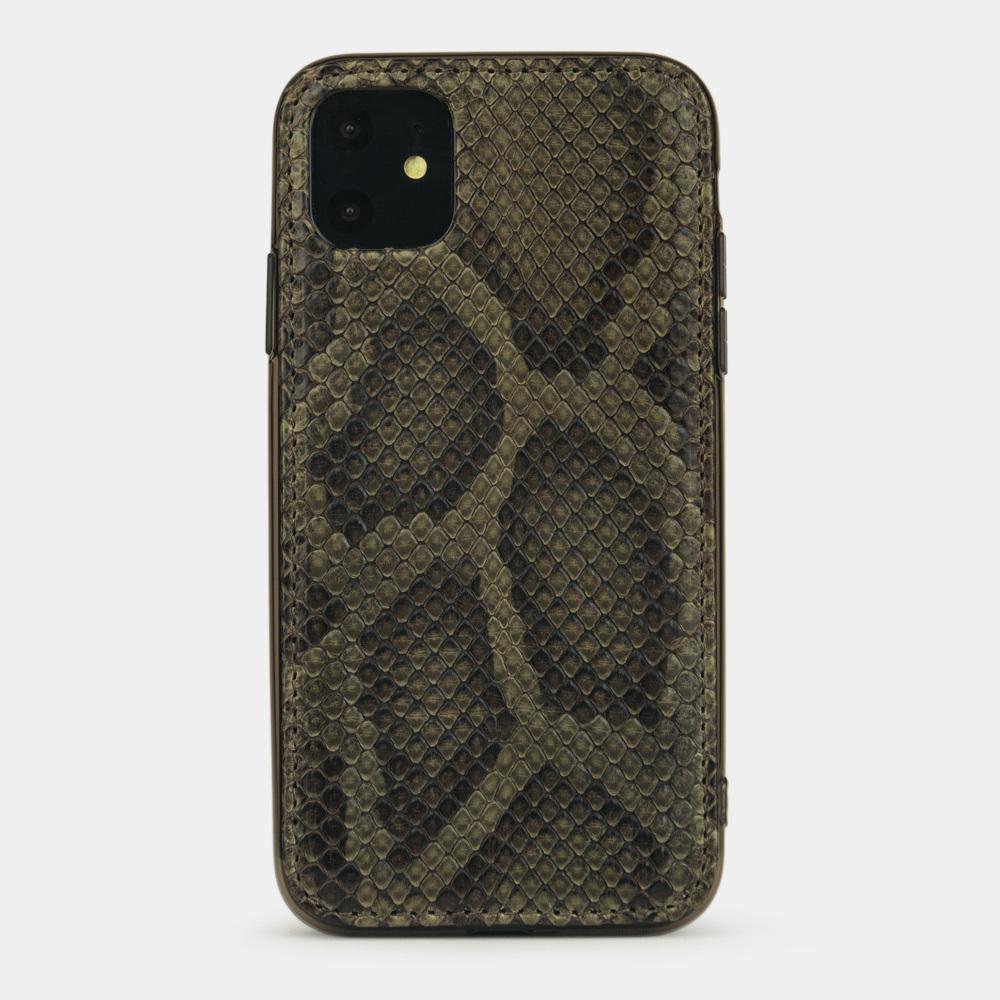 Чехол-накладка для iPhone 11 из натуральной кожи питона, зеленого цвета