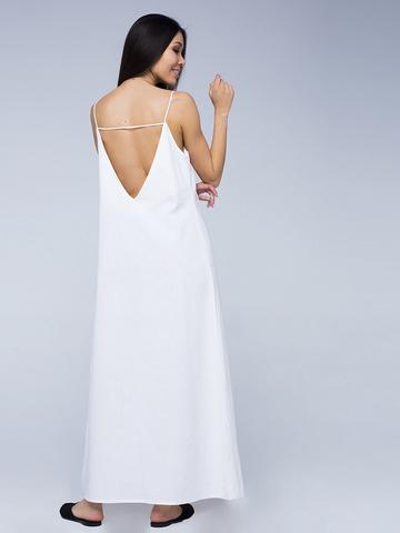 Платье белое льняное с открытой спинкой макси