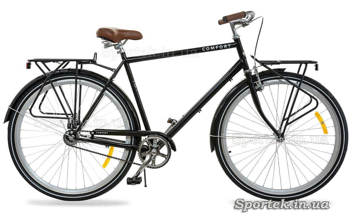 Городской мужской велосипед Dorozhnik Comfort Male 2018 черного цвета