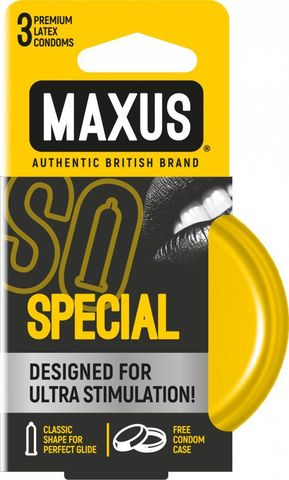 Презервативы с точками и рёбрами в железном кейсе MAXUS Special - 3 шт.