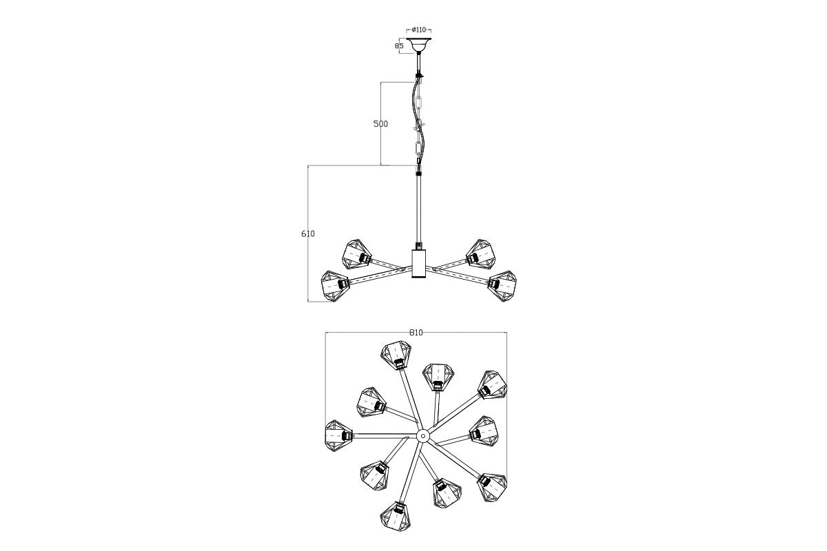 20MD3471-10G Светильник потолочный d88*60см