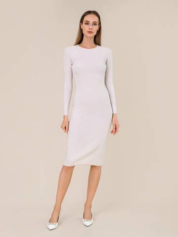 Женское платье светло-серого цвета из шерсти - фото 2