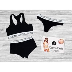 Женский комплект из 3-ех единиц черный : топ  стринги и боксеры  Calvin Klein Women Black 3 - Pack