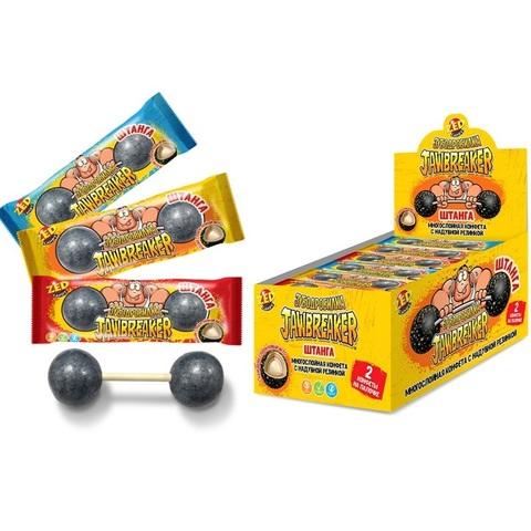 ЗУБОДРОБИЛКА Штанга 2 многослойные конфеты на палочке с надувной резинкой, 1кор*12бл*10 шт. 60гр