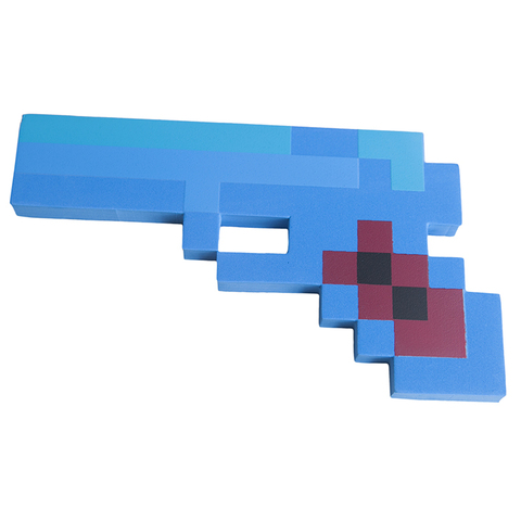 Пистолет 8Бит Синий пиксельный 22см