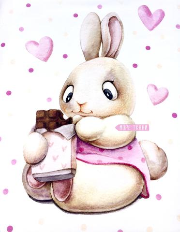 Панель(купон) зайка с шоколадом -75*100 см