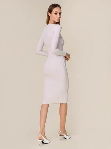 Женское платье светло-серого цвета из шерсти - фото 4