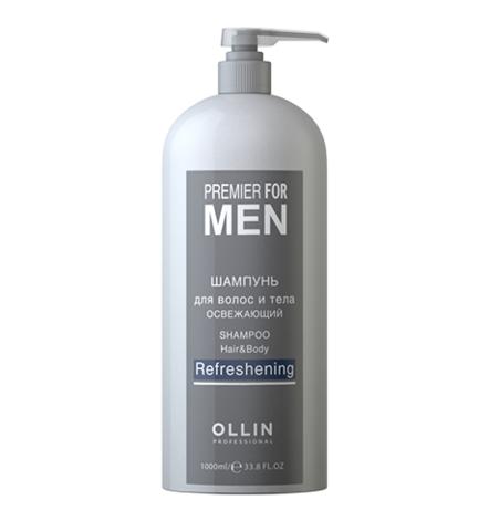 OLLIN premier for men шампунь для волос и тела освежающий 1000мл / shampoo hair&body refreshening