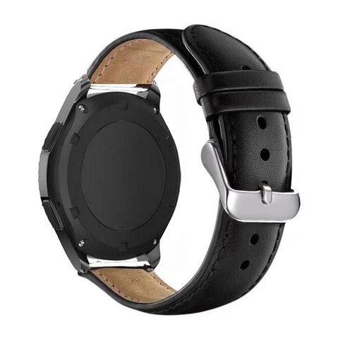 Кожаный ремешок 22мм Fohuas Leather Band для Samsung Gear S3/Galaxy Watch 46 (черный)