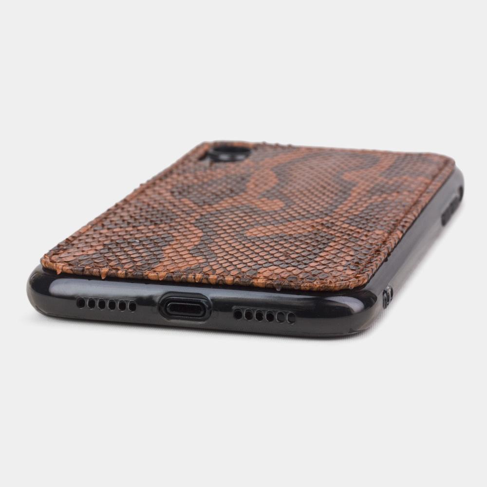 Чехол-накладка для iPhone XR из натуральной кожи питона, цвета Коньяк