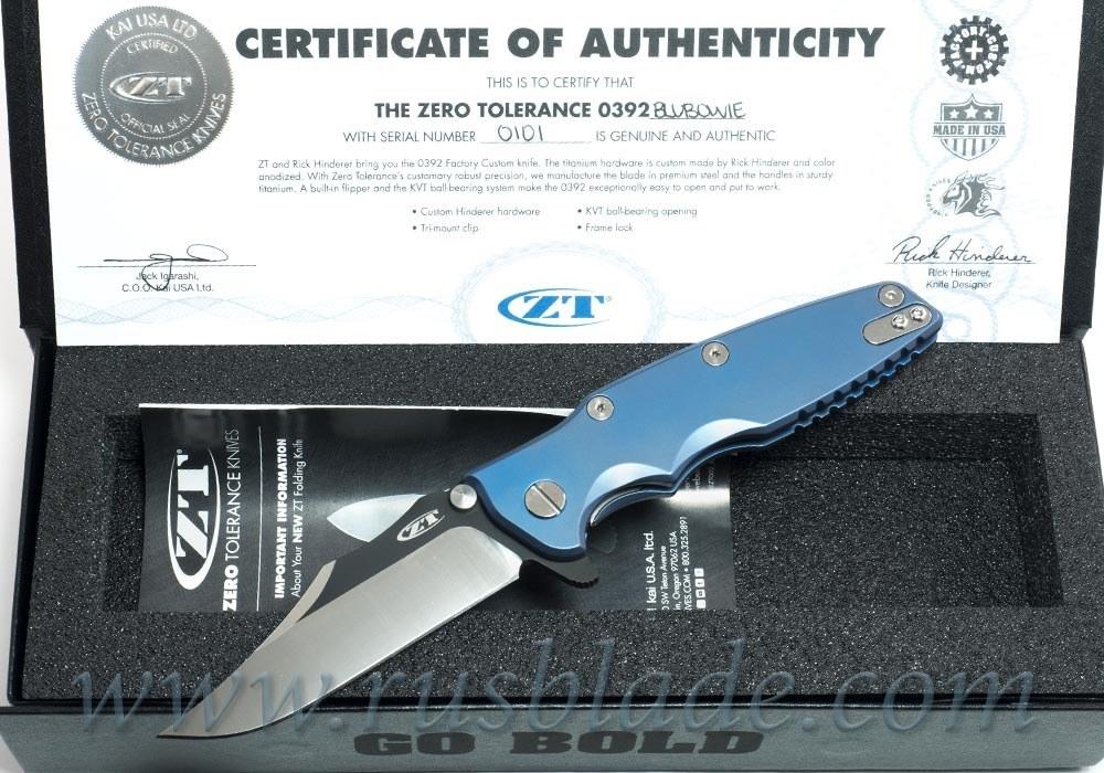 Zero Tolerance 0392BLUBOWIE Factory Custom