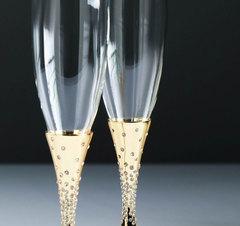 Набор свадебных бокалов с кристаллами сваровски, золото, 27,4 см, фото 2