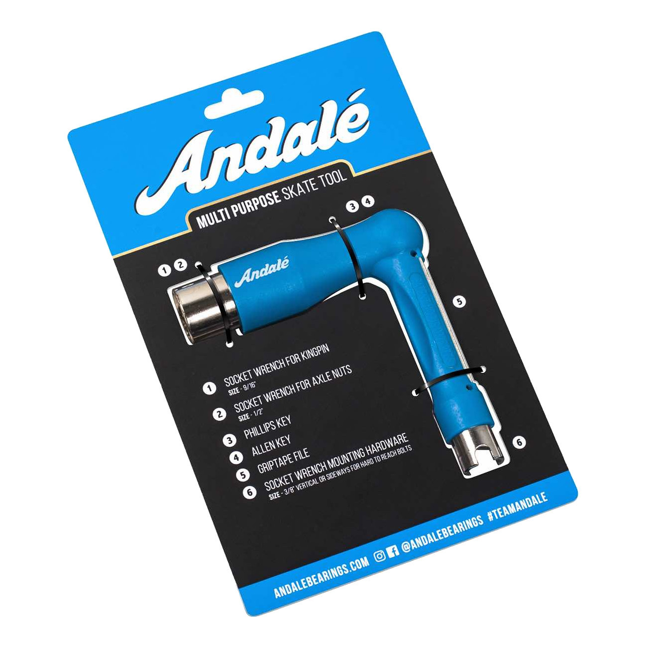 Ключ для скейта (скейт тул) ANDALE Skate Tool (Blue)