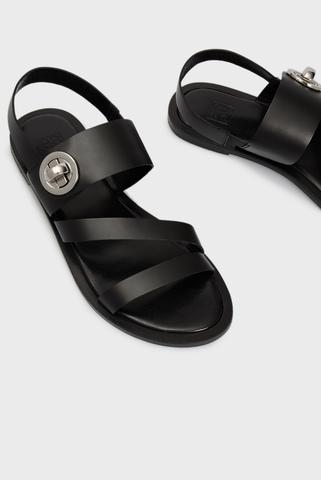 Женские черные кожаные сандалии Rosabella PRPY