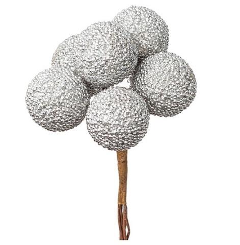 Набор шариков засахаренных на вставках 6шт., размер: D2,2xL11см, цвет: серебряный
