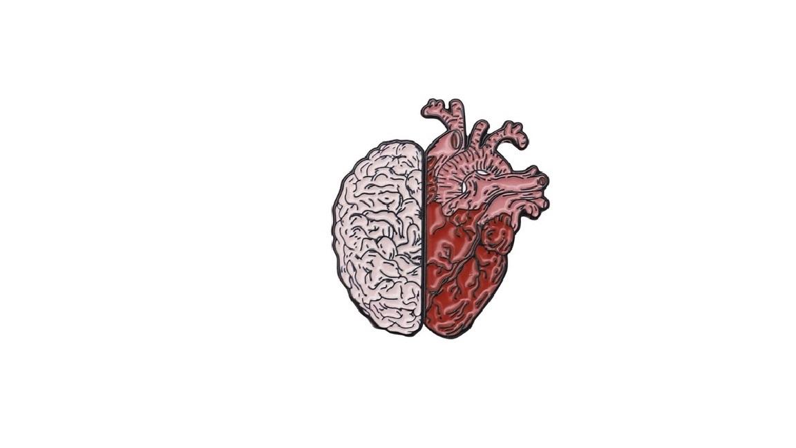 Двойная брошь сердце-мозг
