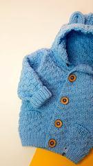 Кардиган с капюшоном голубой