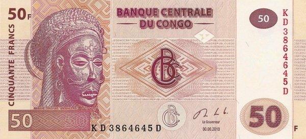 Банкнота 50 франков 2013 год, Конго. UNC