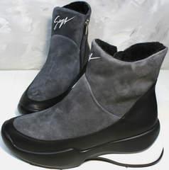 Женские зимние полусапожки Jina 7195 Leather Black-Gray
