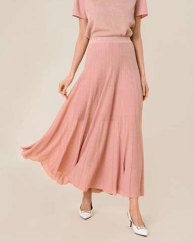 Женская юбка-плиссе светло-розового цвета из вискозы - фото 3