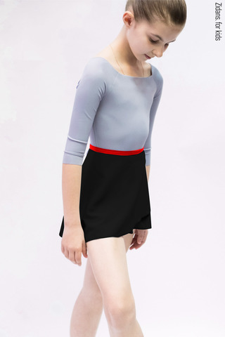 Kids set: 2 Sleeves leotard grey + skirt